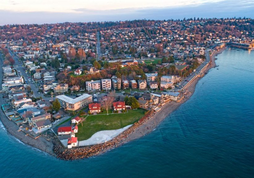 west seattle drone view